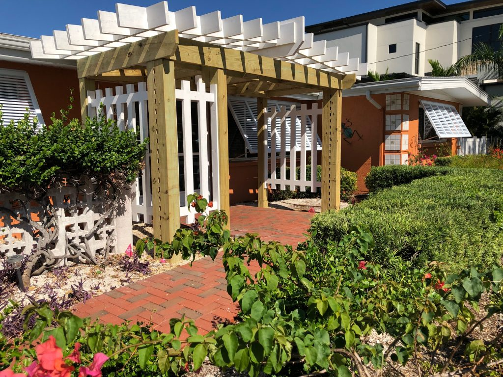 Custom wood doors and outdoor pergolas, trellis and gazebos designed and built by Wiederhold Creations